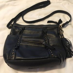 BORN black leather crossbody bag